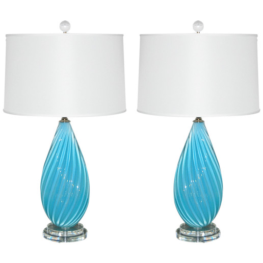 Vintage Murano Table Lamps of Malibu Blue