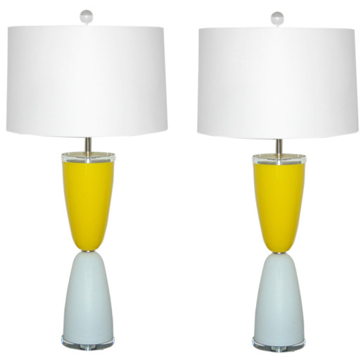 Whimsical Murano Lamps of Yellow and White