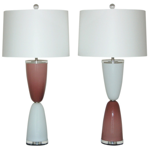 Parabolic Lamps of Plum and White on Lucite