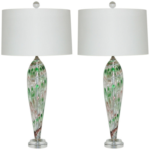 Pair of Vintage Murano Teardrop Lamps with Squiggle Design