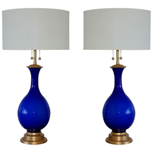 Marbro Lamp Company - Murano Lamps of Cobalt Blue