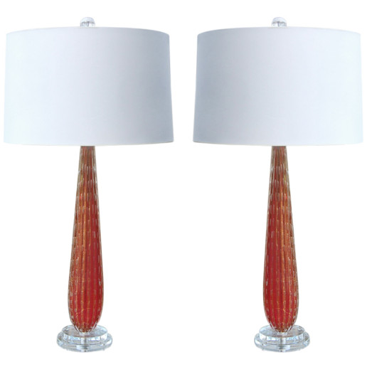 Pair of Vintage Murano Table Lamps in Pomegranate