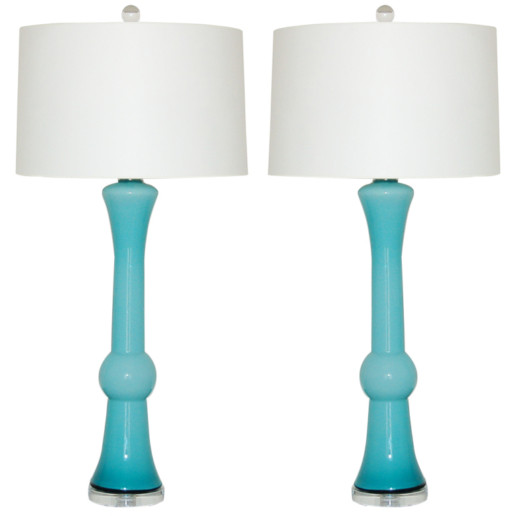 Sculpted Pair of Vintage Murano Lamps in Turquoise Blue