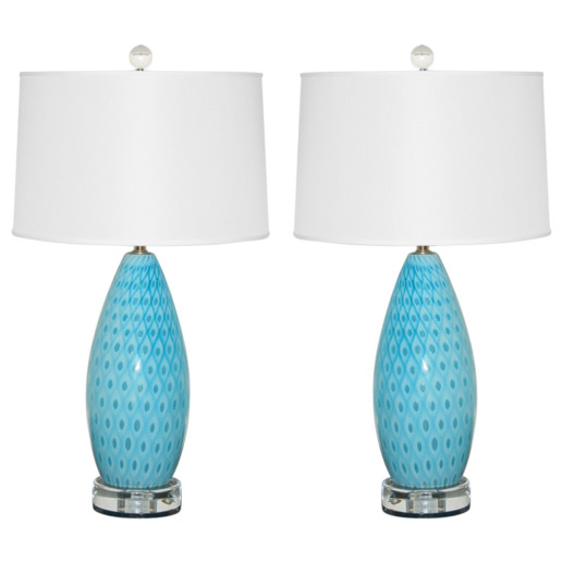 Pair of Vintage Murano Peacock Lamps in Blue
