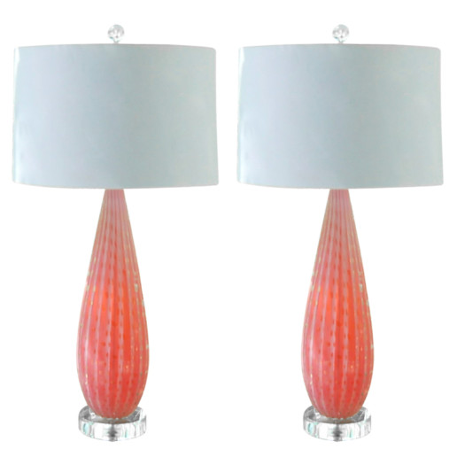 Pair of Vintage Lamps in Pink Opaline