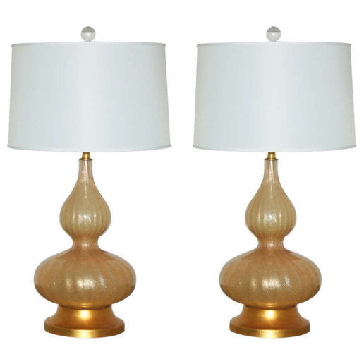 Pair of Sexy Vintage Murano Champagne Lamps with Craquelure