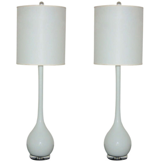Matched Pair of Murano Long Neck Table Lamps in Snow White