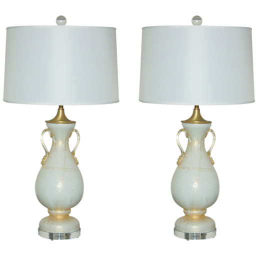 Pair of Vintage Vanilla Cream Murano Table Lamps