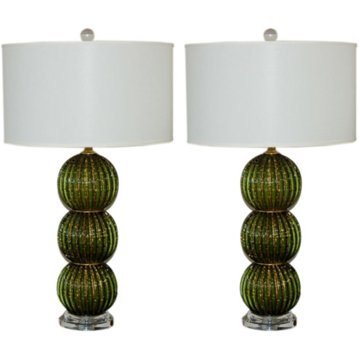Stacked Ball Murano Table Lamps of Emerald Green