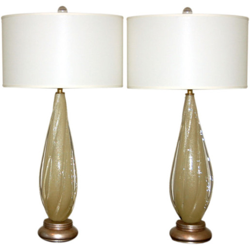 Vintage Murano Winged Table Lamps in Caramel