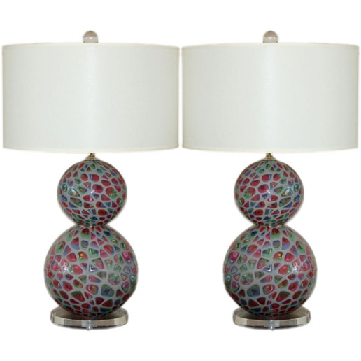 Extremely Rare Murano Table Lamps in Tiffany Design