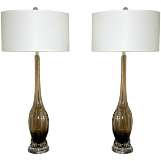 Vintage Murano Table Lamps in Smokey Bronze