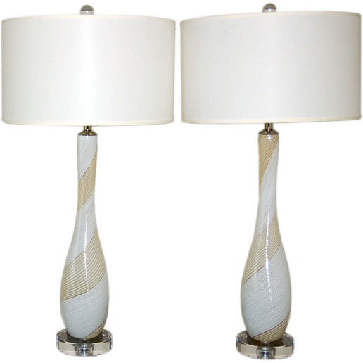 Candy Cane Stripe Murano Table Lamps in Vanilla
