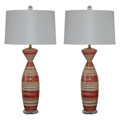 Deruta - Striped Mid Century Ceramic Lamps in Pink