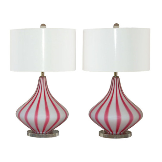 Circus Tent Striped Murano Lamps in Magenta and White