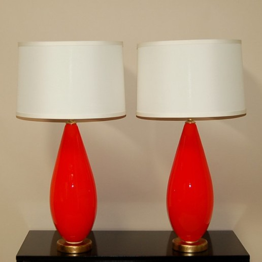Chinese Red Murano Lamps on Double Lucite Platter