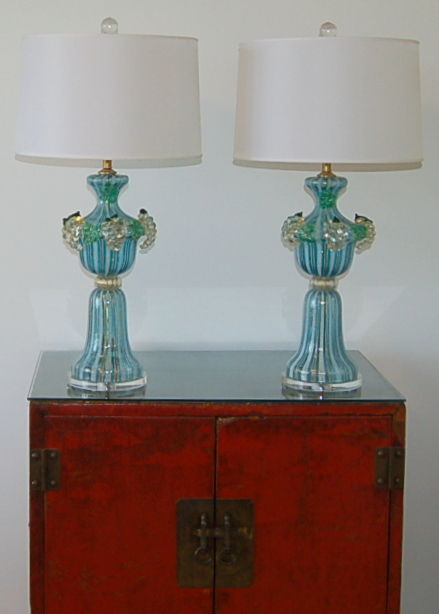 Dino Martens Murano Glass Table Lamps Aqua Swank Lighting