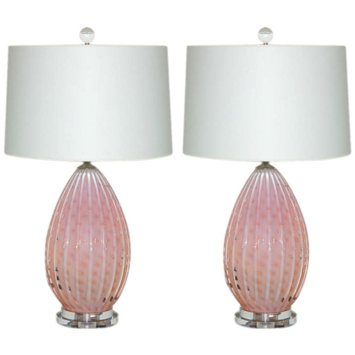 Vintage Opaline Lamps in Soft Peach