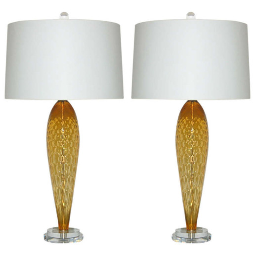 Pair of Vintage Italian Teardrop Glass Lamps in Butterscotch