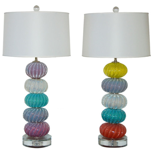 Vintage Murano Multi-Color Stacked Font Table Lamps