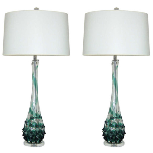 Tulip Topped Murano Lamps with Emerald Ribbon