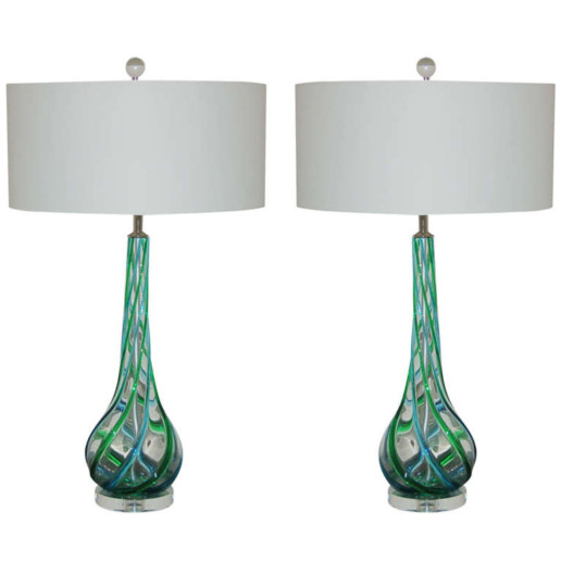 Murano Glass Lamps with Applied Ribbons of Emerald and Aqua