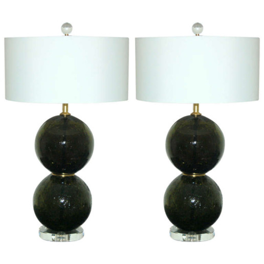 Olive Green Craquele Murano Glass Ball Lamps
