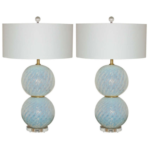 Pair of Vintage White Opaline Murano Glass Ball Lamps