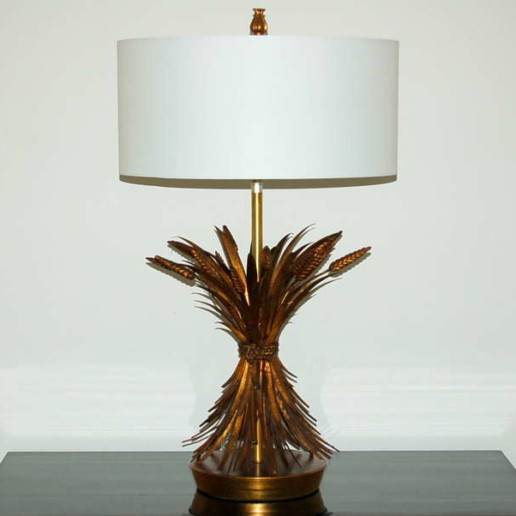 Pair of Tole Wheat Sheaf Table Lamps by The Marbro Lamp Company