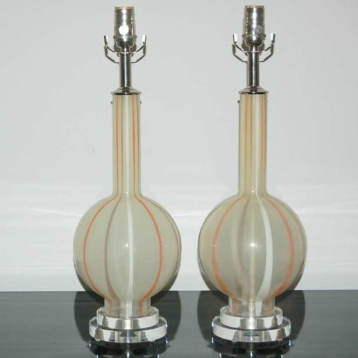 Pair of Vintage Murano Lamps in Salmon and Taupe Stripes