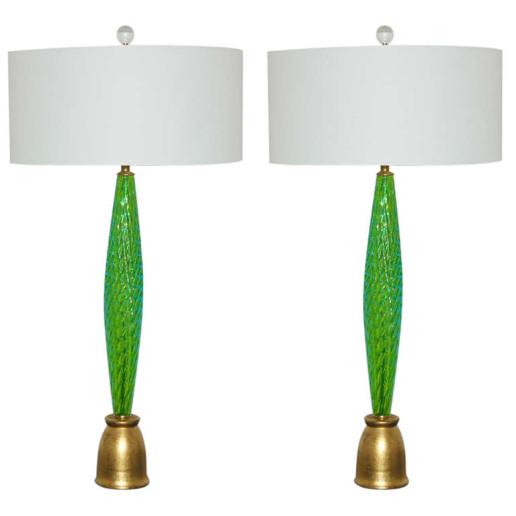 Pair of Slender and Sexy Vintage Murano Table Lamps in Grass