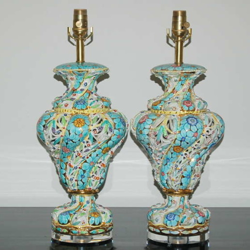 Pair of Vintage Italian Capodimonte Pierced Table Lamps