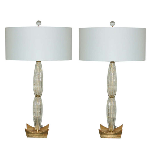 Pair of Murano Teardrop Glass Lamps in Champagne