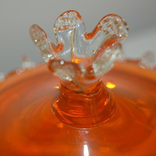 Vintage Murano Lidded Compote in Tangelo