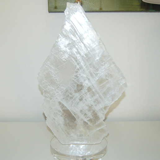 Pair of Selenite Table Lamps by Swank Lighting