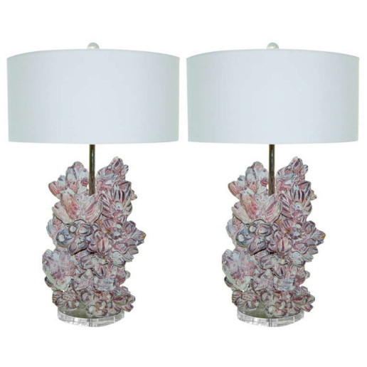Pair of Monumental Barnacle Lamps by Swank Lighting