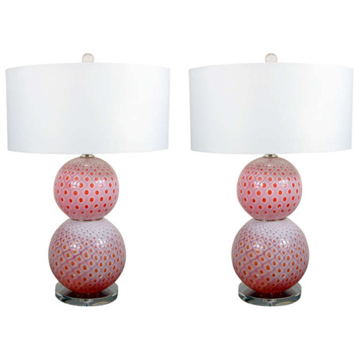 Pair of Vintage Stacked Ball Murano Lamps of Cherry Pink