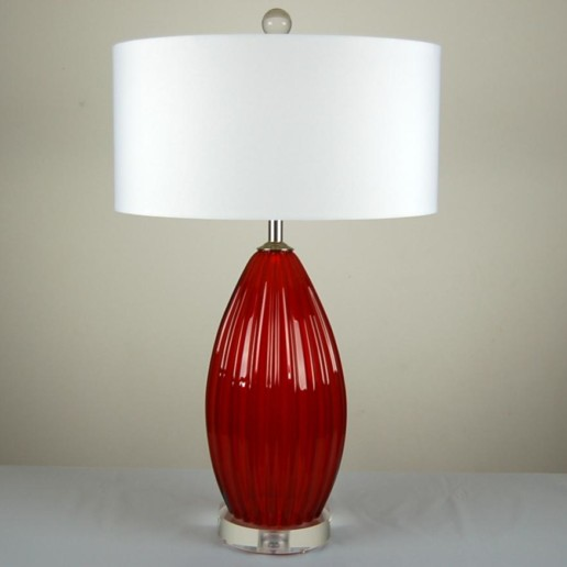Ruby Red Murano Lamps on Lucite