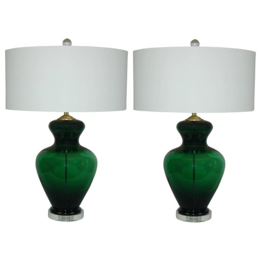 Matched Pair of Vintage Murano Lamps, Extra Chunky, in Emerald Green