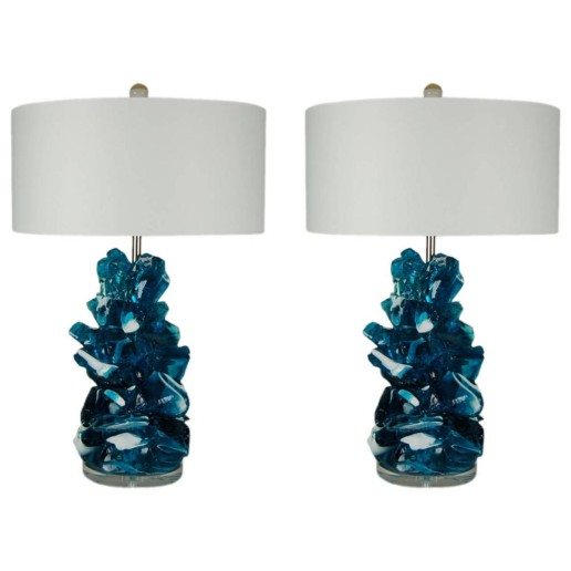 Rock Candy Lamps by Swank Lighting in Striped Aqua