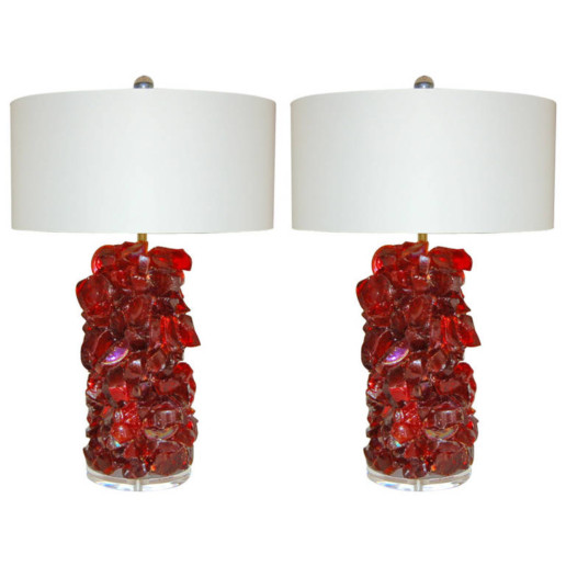 Rock Candy Glass Table Lamps In Garnet Red Swank Lighting