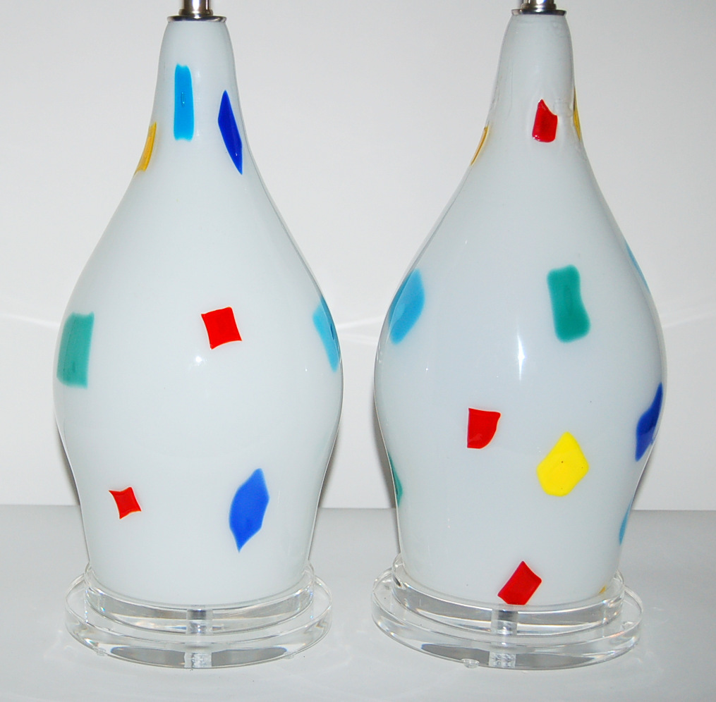 Dino Martens Pair Of Vintage Murano Patchwork Lamps
