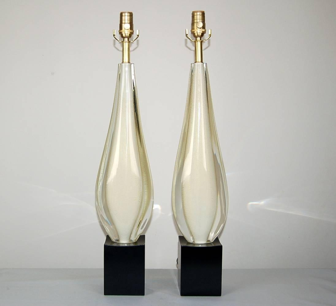 Vintage Murano Sommerso Glass Table Lamps White Swank