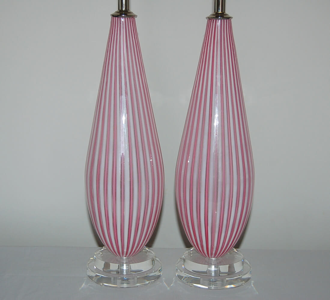Matched Pair Of Striped Pink Vintage Murano Lamps By Dino