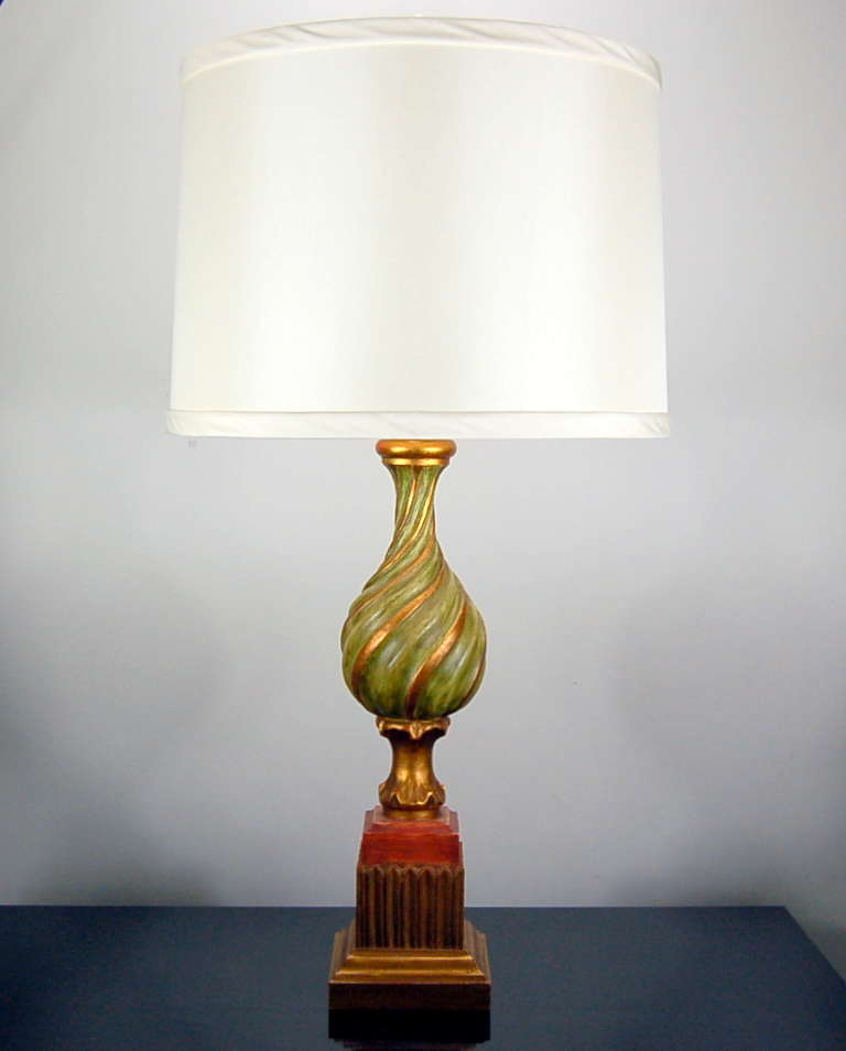 Pair Of Vintage Carved Wooden Italian Table Lamps By