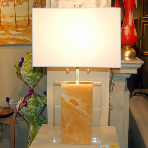 Pair of Tangerine Calcite Stone and Lucite