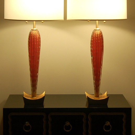 Vintage Murano Lamps in Cranberry on Gold Leaf