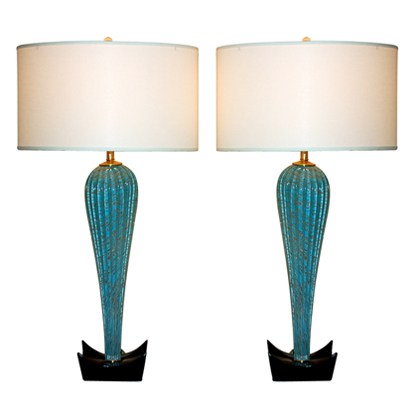 Turquoise, Aqua and Copper Murano Lamps