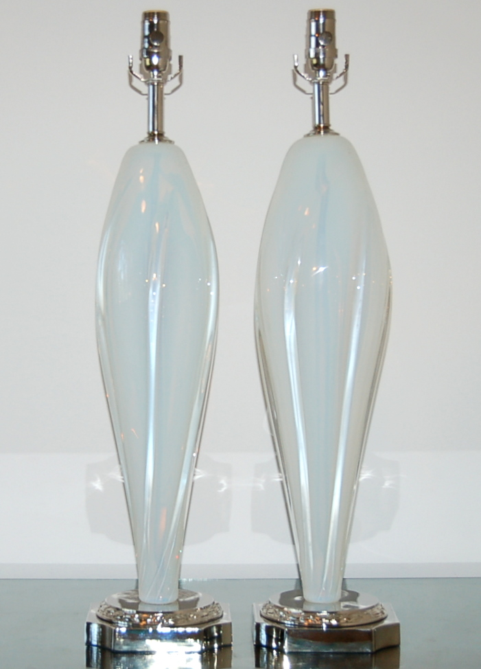 Vintage Murano Opaline Glass Table Lamps White Swank