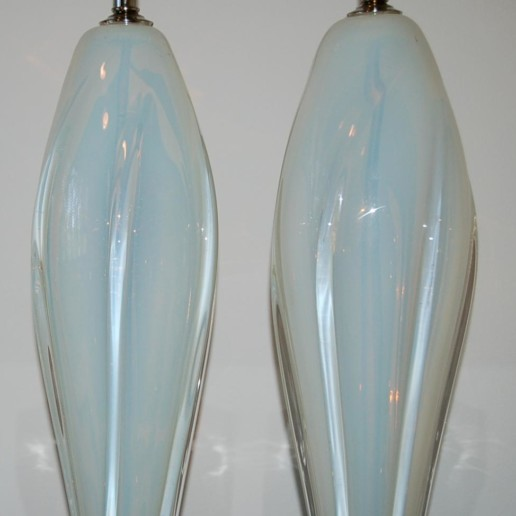 Opaline Murano Table Lamps on Nickel